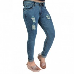 Denim Vistara Women's Torn Slim Fit Blue Colored Jeans