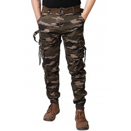 Army Print Dori Style Relaxed Fit Zipper Cargo Pants DV-J001