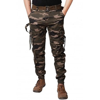 Army Print Dori Style Relaxed Fit Zipper Cargo Pants