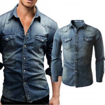 Royal Spider - Men's Full Sleeves Slim Fit Denim Casual Shirt