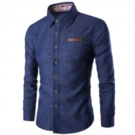 Royal Spider - Men's Full Sleeves Slim Fit Denim Shirt
