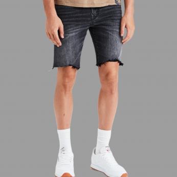 Royal Spider - Denim Black Shorts For Man