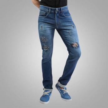 Denim Vistara Men's Torn Slim Fit Blue Jeans