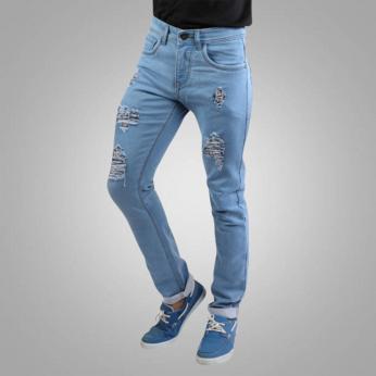 Denim Vistara Men's Torn Slim Fit Sky Blue Jeans