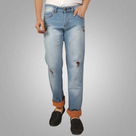 Denim Vistara Men's Ice Blue Torn Jeans
