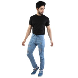 Denim Vistara Men's Torn Slim Fit Sky Blue Jeans
