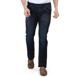 Denim Vistara Men's Green DX Slim Fit Ankle Length Torn Jeans