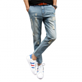 Royal Spider Sky Blue Torn Jeans For Men's