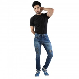 Denim Vistara Men's Torn Slim Fit Blue Jeans