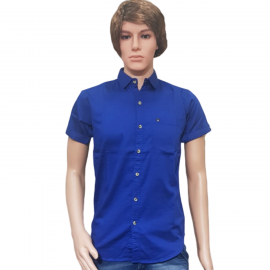 Men's Blue Satin Party Wear Shirts