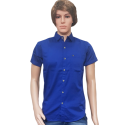 Men's Blue Satin Party Wear Shirts