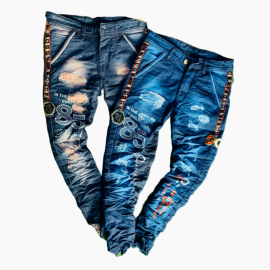 DVG - Wholesale Printed Funky Damage Men Jeans