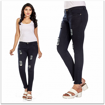 Denim Vistara Women's Torn Slim Fit Black Colored Jeans