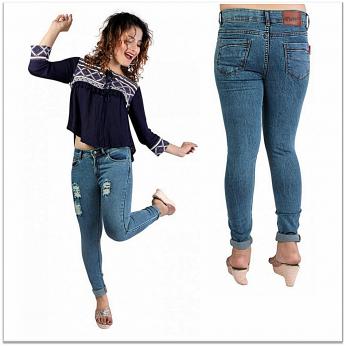 Denim Vistara Women's Torn Slim Fit Blue Colored Jeans