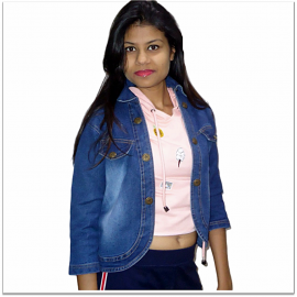 Royal Spider Blue Denim Jacket For Women