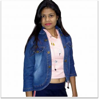 Royal Spider Blue Denim Jacket For Women