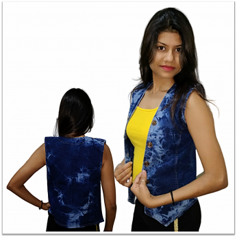 Denim Vistara Printed sleeveless Women denim jacket