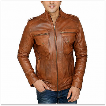 Royal Spider - Brown Pure Leather Jacket For Men RS-L001
