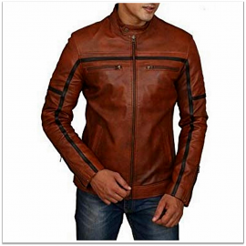 Royal Spider - Black Brown Pure Leather Jacket For Men