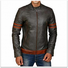 Royal Spider - Men Grey Black Pure Leather Jacket