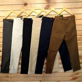 6 Colour Set Mens Regular Fit Cotton Trouser