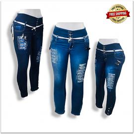 Women Classic 4 Button High Waist Skinny Jeans SU-100