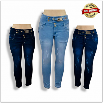 Women 4 Button High Waist Skinny Torn Jeans