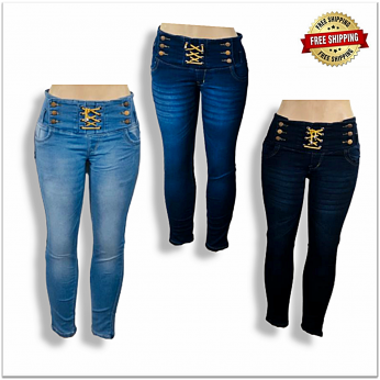 Women Stylish High Waist Jeans Wholesale Piece 440