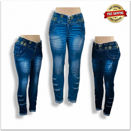 High Waisted Women Torn Jeans