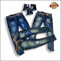 Men Repeat Patch Jeans