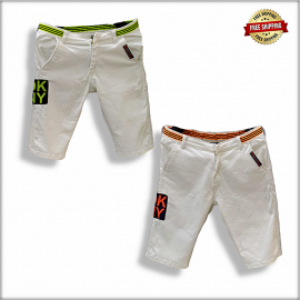 Men White Solid Slim Fit Chino Shorts GTU-0031