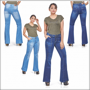 Women Patch Flare Jeans Bell Bottom