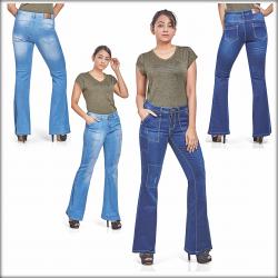 Women Patch Flare Jeans Bell Bottom