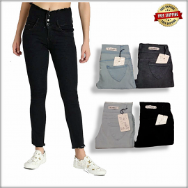 Women Skin Fit High Waist Three Button Jeans