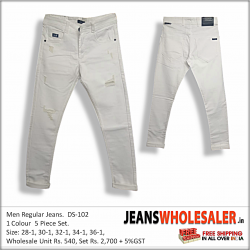 Men White Stretchable Ripped Jeans