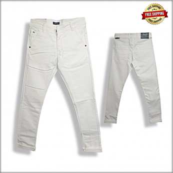 Men White Stretchable Ripped Jeans DS102