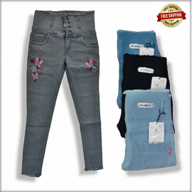 High Waist Embroidered Women Jeans