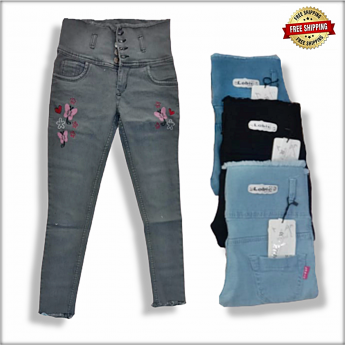 High Waist Embroidered Jeans For Women
