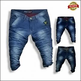 Men Stylish Wrinkle Jeans