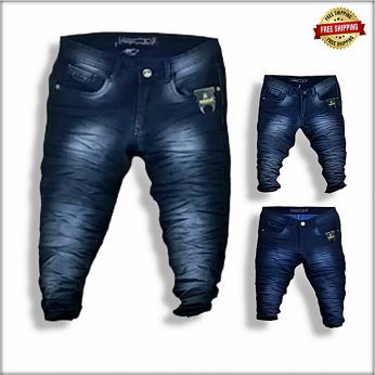 Men Stylish Wrinkle Jeans