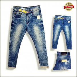 Men Cloud Wash Blue Jeans