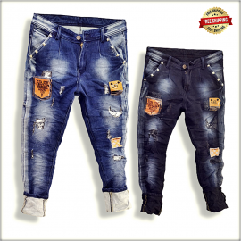 Mens Funky Patch Denim Jeans