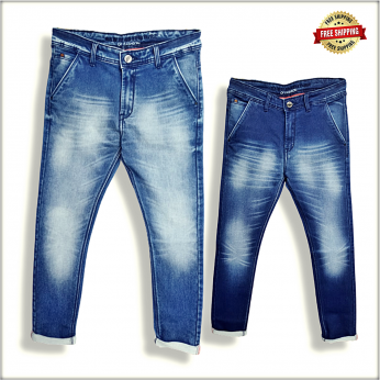 Mens Blue Slim Fit Mid-Rise Jeans DS111