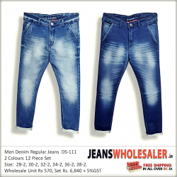 Mens Blue Slim Fit Mid-Rise Jeans