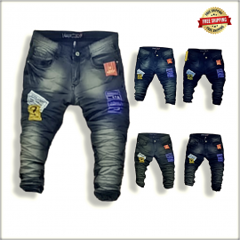 Men Funky Jeans With Patches Wholesale Price WJ1216