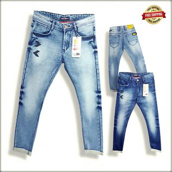 Blue Printed Denim Jeans For Men's