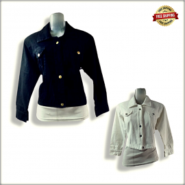 Women Dusty Solid Denim Jacket DV2008