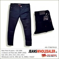 Mens Black Cross pocket Polo Fit Jeans