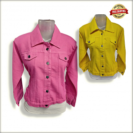 Women Dusty Solid Denim Jacket DV2007