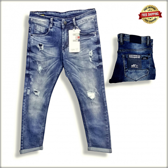 Men Blue Distressed Stretchable Jeans DS116